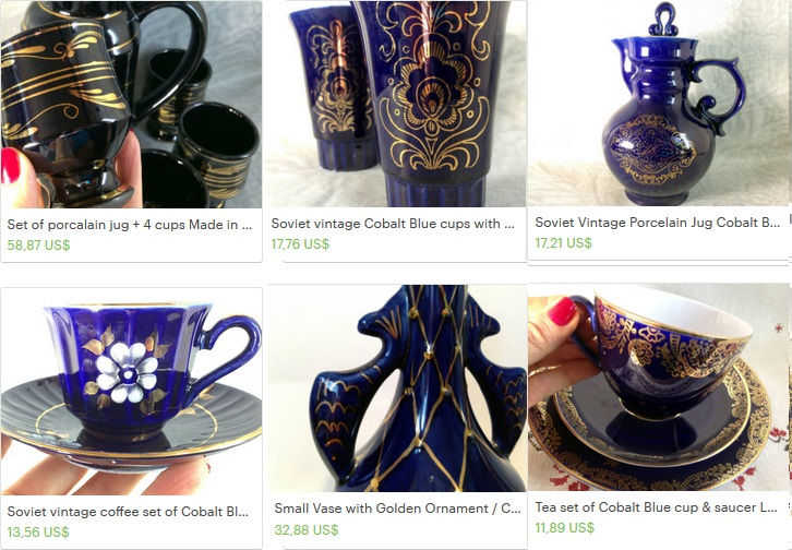 Cobalt blue with gold pattern from Soviet era
